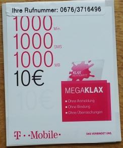 Simkarte Fur Osterreich Mit 1000 Minuten SMS MB T Mobile